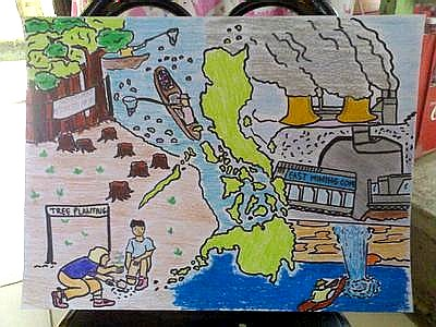 Kids drawing of the state of the Philipine environment