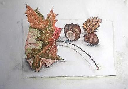 autumn still life pastel drawing
