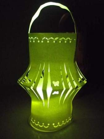 light up green paper lantern