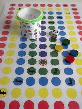 KKC homemade board game with dice cup