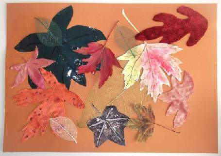 Leaf collage on orange card