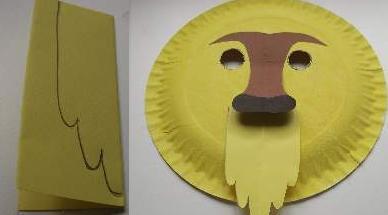 make beard for lion mask & Paper Plate Lion Mask