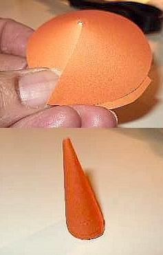 Glue them above the orange nose for eyes. Then take the black felt and cut two slightly smaller circles (1 inch circumference) and glue them in the center of the white ones. As a final touch, hot glue pieces of straw to the top of the hat.