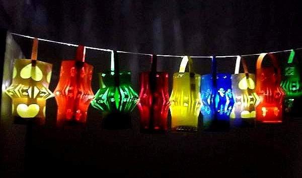 nine lit paper lanterns