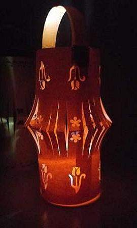 lighted orange paper lantern