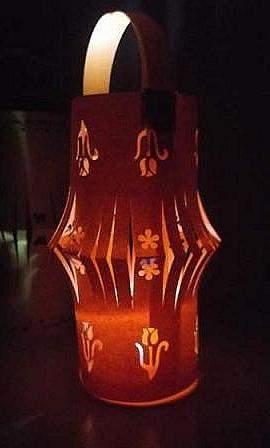 lighted orange paper lantern