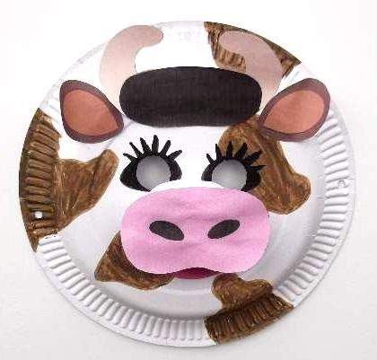 paper plate cow mask & Craft Animal Paper Plate Masks