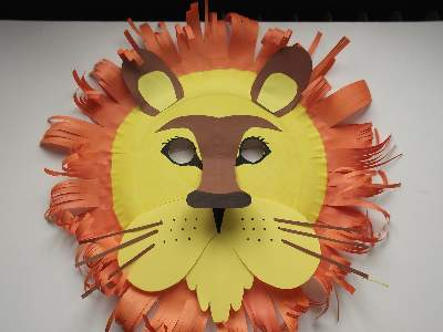 lion paper plate mask