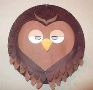 paper plate owl mask