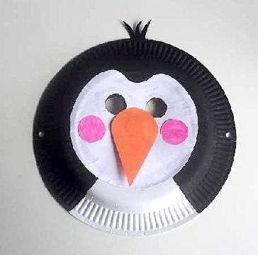 paper plate penguin mask & Craft Animal Paper Plate Masks