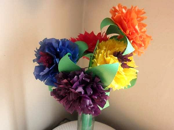 Make tissue paper flowers to make each flower mightylinksfo