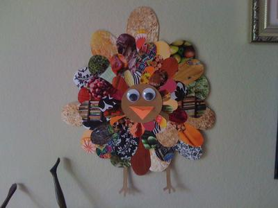 turkey made from greetings cards