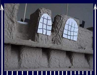 window of a kids paper mache castle