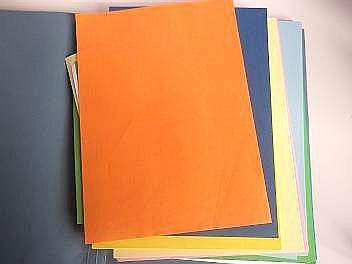 folder containing coloured A4 paper