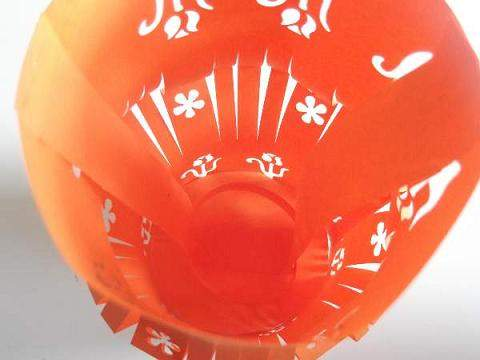 the inside of a paper lantern