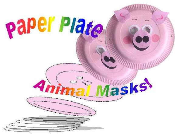 paper plate pig mask with text