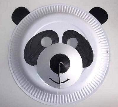 paper plate panda mask