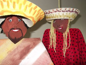 paper plate mexican puppets